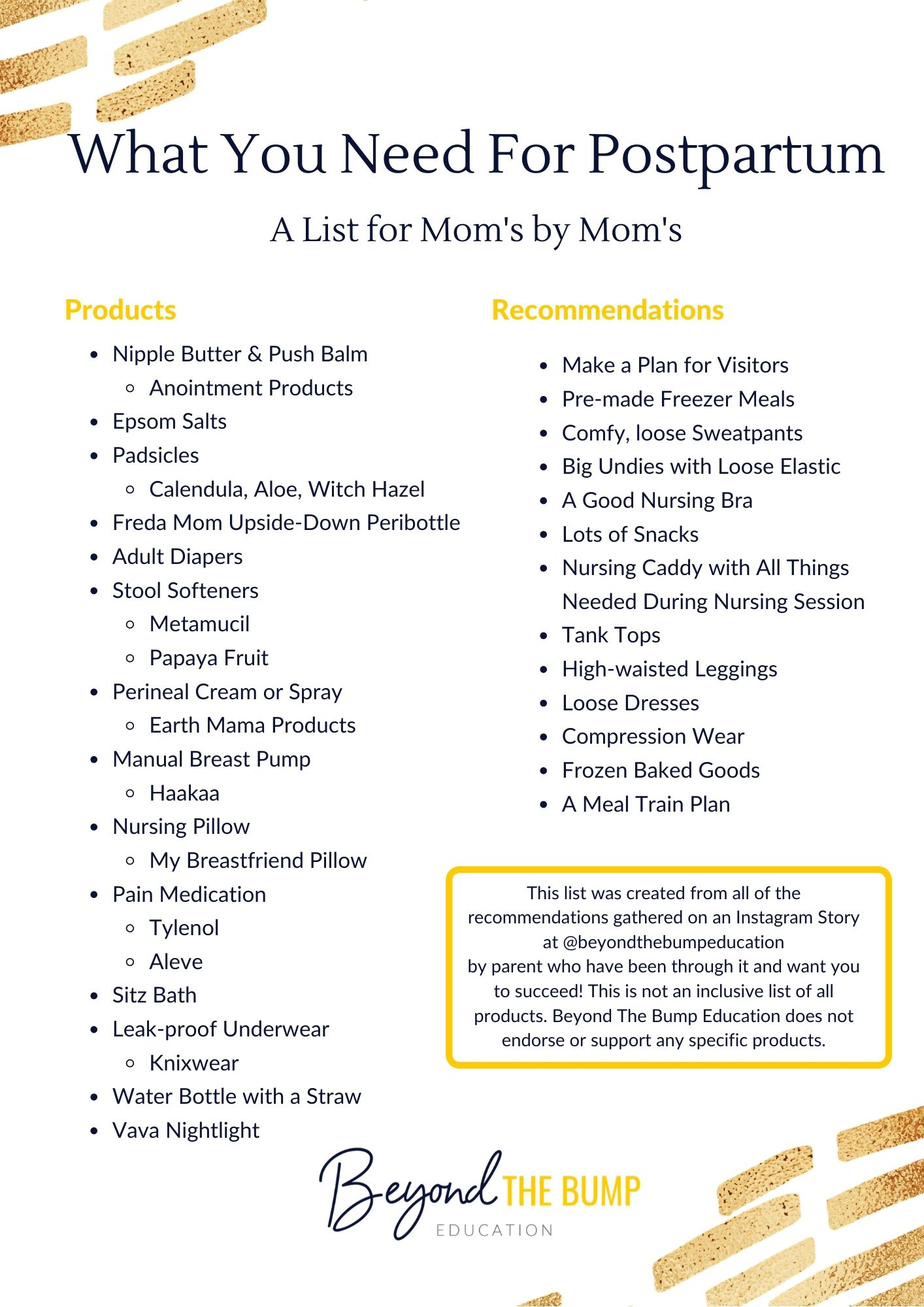 postpartum products list